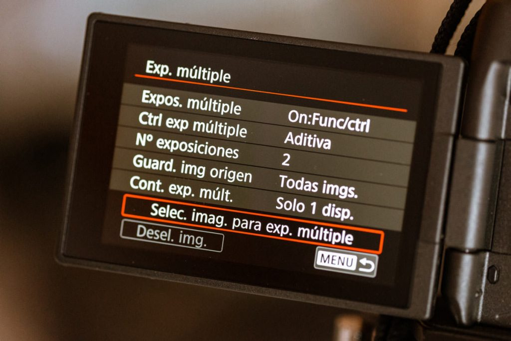 configurar cámara de fotos para doble exposición